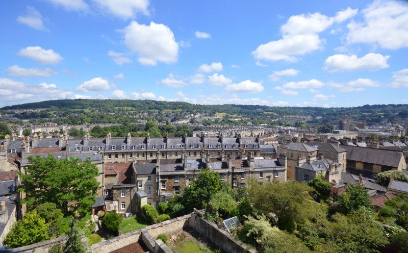 A magnificent rooftop view of Bath from the Apartment