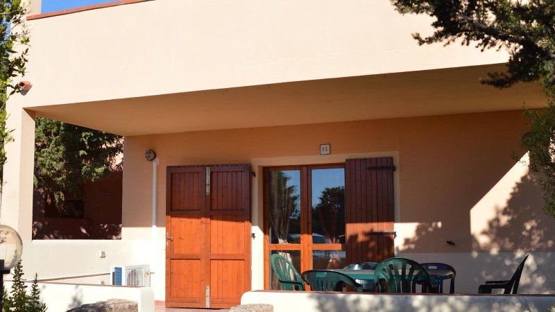 900m from the sea, kitchen, bedroom, bedroom with 2 single beds and bathroom.
