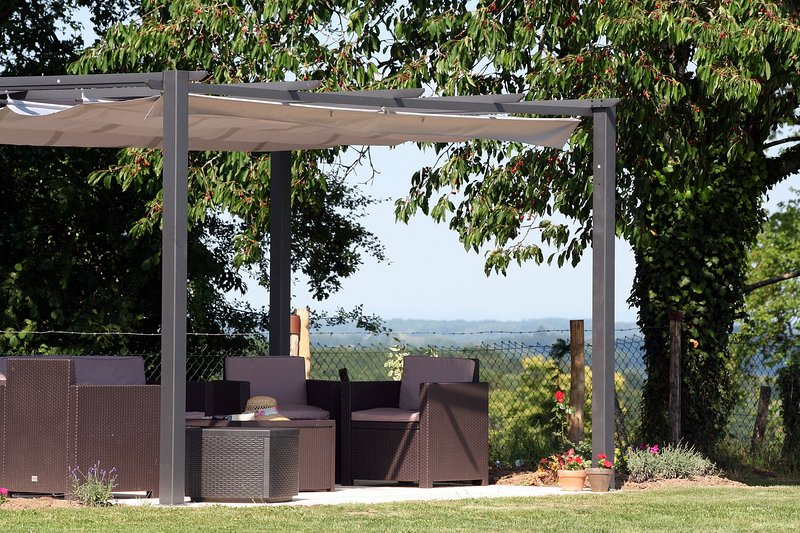 Shade from the sun with seating area and beautiful views