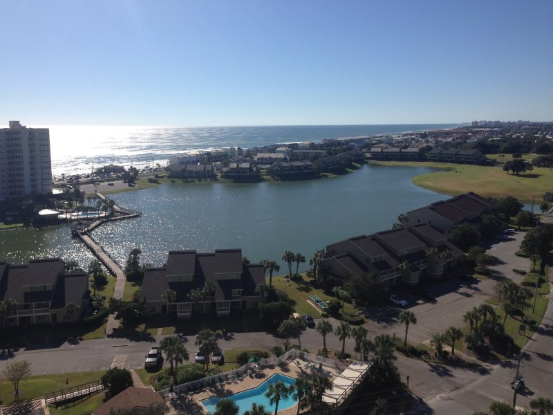 Beautiful views of Gulf of Mexico and Stewart Lake. Watch the sunset every evening from the balcony.