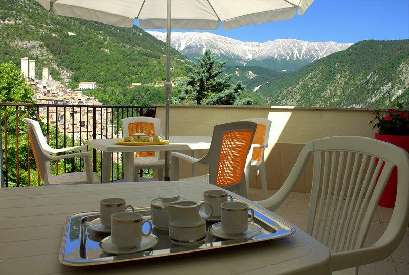 Panoramic view terrace and breakfast. Panoramic terrace and breakfast area.