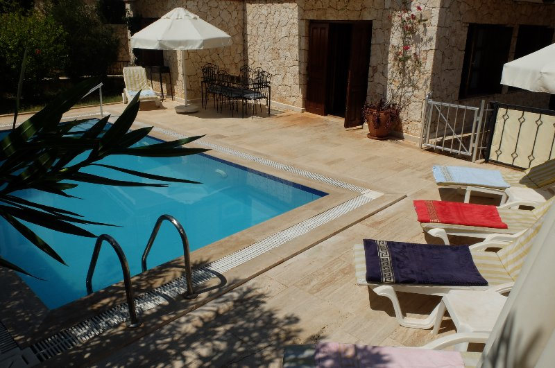 Private pool terrace with sunbeds for 6 people