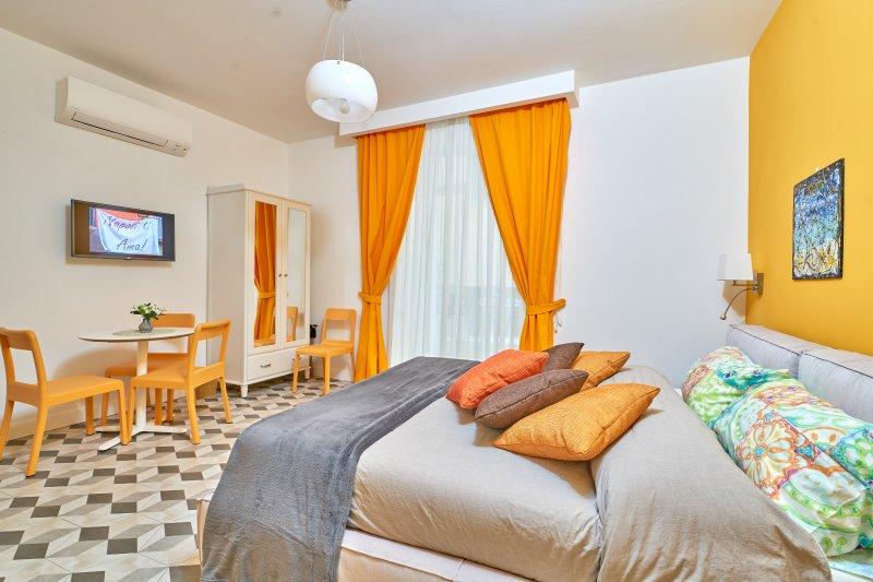 Stanza familiare con letto dotato di materasso memory, balcone, divano letto, bagno privato, USB