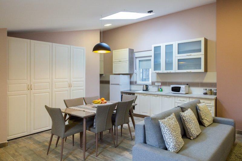 Salon avec salle à manger et une cuisine
