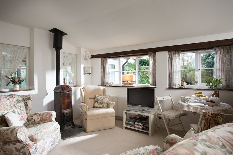 Comfortable sitting room with cosy log burning stove