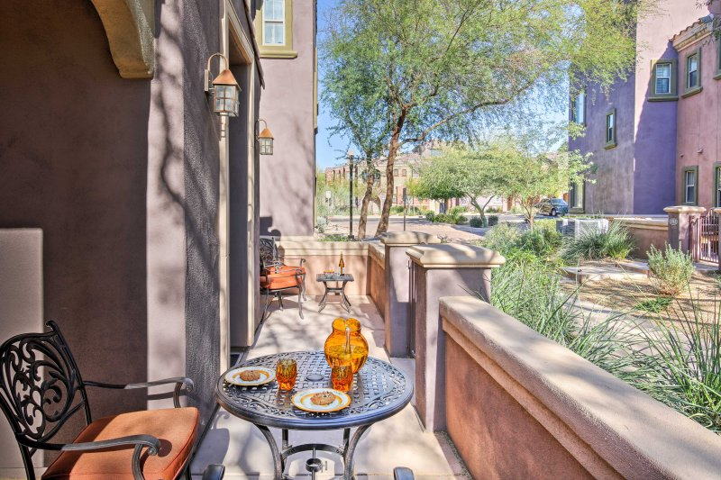 Enjoy afternoon cocktails on the sunny, furnished patio.
