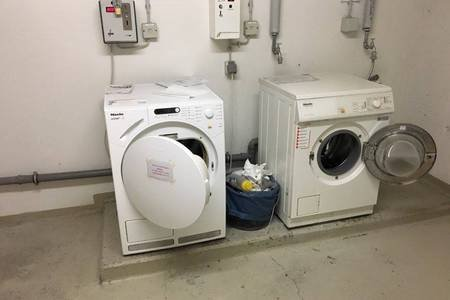 Coin washing machine and dryer are in the basement