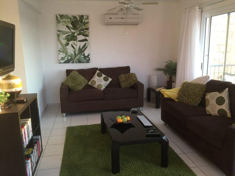 Espace salon avec deux canapés doubles.
