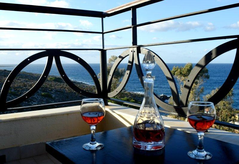 Magnificent sea view,clean and bright apartment, location de vacances à Kalathas
