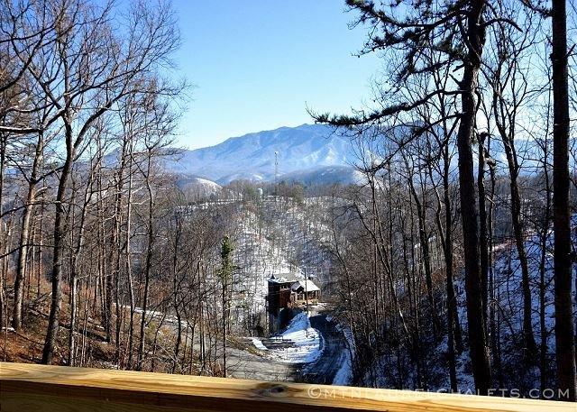 Winter view of Mt LeConte to the south