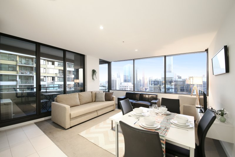 A comfy and beautiful interior with an amazing view.