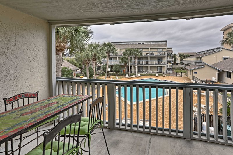Located in the 'Sunswept Condominiums', you'll have access to a pool and grills.