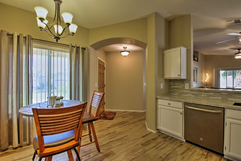 An open floor plan makes it easy to socialize.