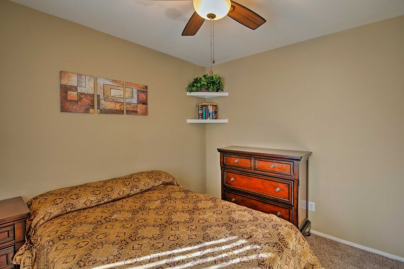 Sleep easily beneath the cooling ceiling fan.