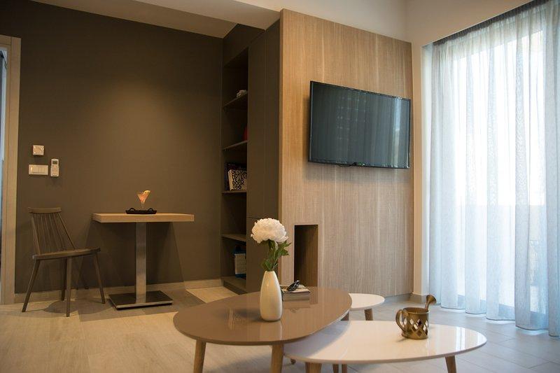 Il soggiorno con il design contemporaneo.