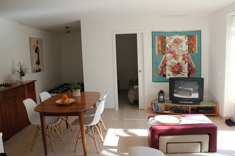 Livingroom with nice decorations, TV, seating and dining area and a kitchenette.