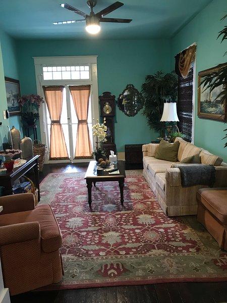 Living room w/Stearns & Foster Queen sleeper sofa.