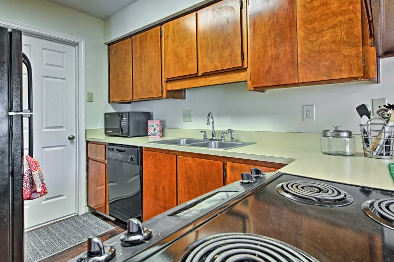 Modern appliances and spacious countertops make home-cooking a breeze.