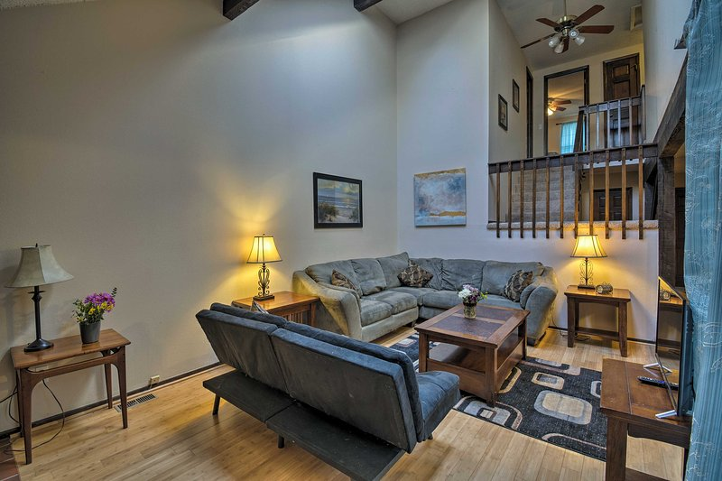 Vaulted ceilings create an open living space.