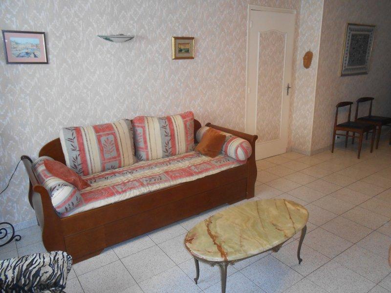 Le sofa du salon, qui peut très facilement  se transformer en 2 lits jumeaux.