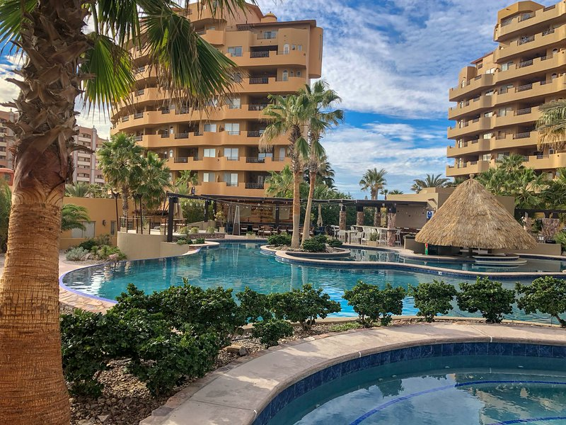 Bella Sirena Resort!  Multiple pools and a swim up bar!