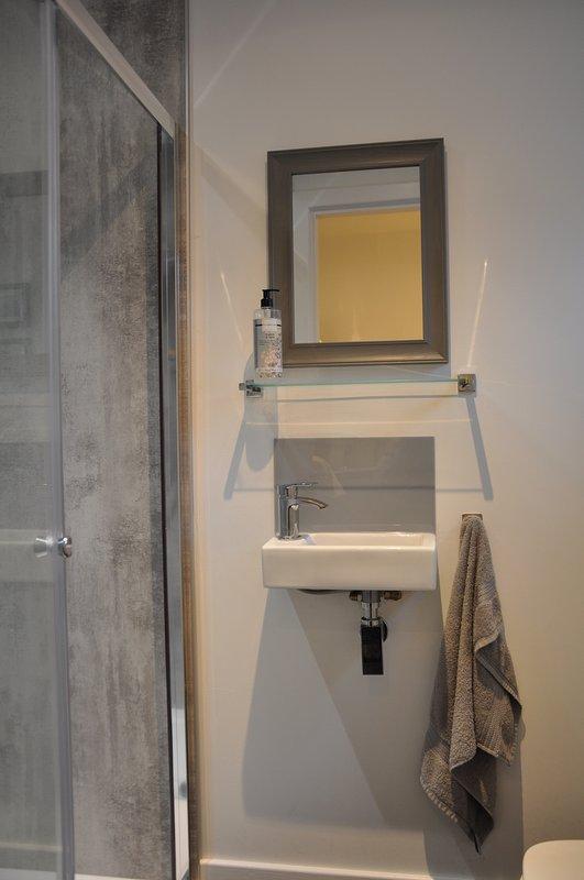 WC no térreo, lavatório e chuveiro grande