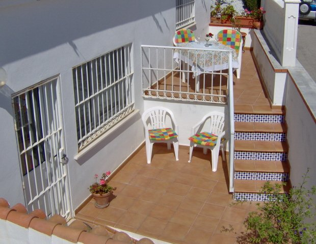 The patio and terrace from above