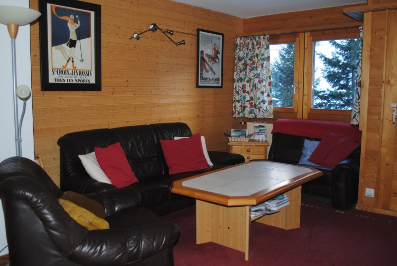 Living area - seats 9 including bed settee, views onto the piste, also games, toys, books etc.,