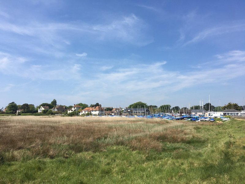 Keyhaven village from the coastal path