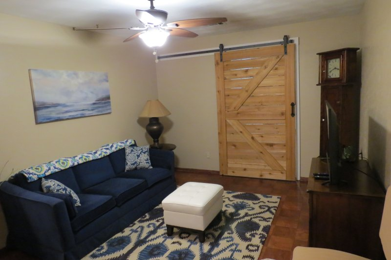 Living area with Barn door closed for separation of space