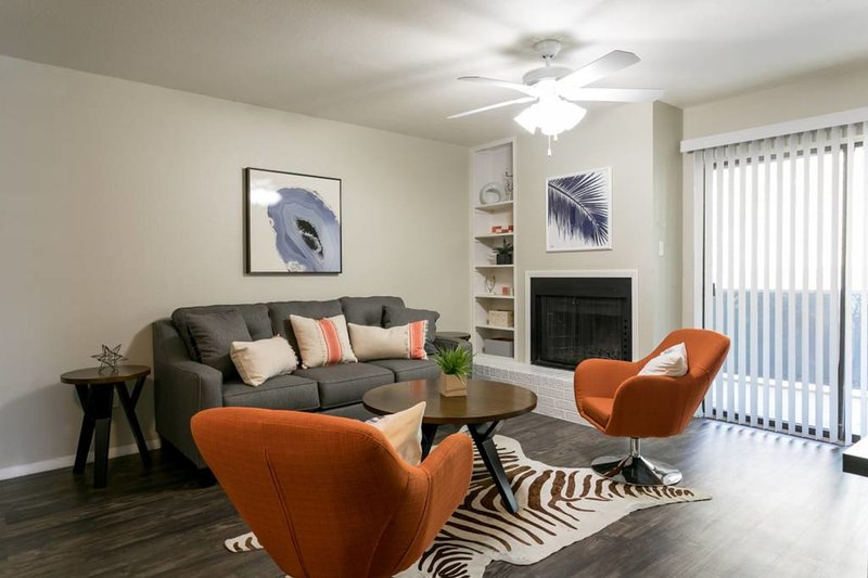 Living room with sleeper sofa and large smart TV