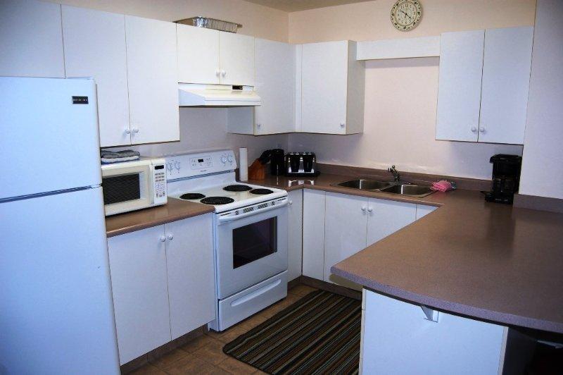 Die voll ausgestattete Küche verfügt über viel Ablagefläche.