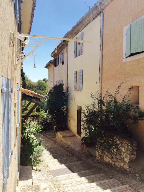 This is our small 'big' Grand Rue, our house is on the right, the one with the blue shutters