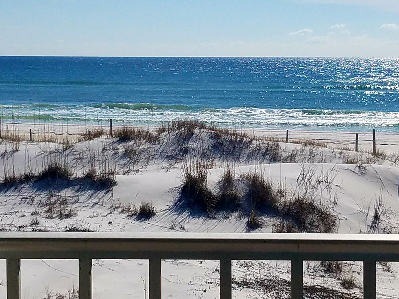 Stunning beach views from both the balcony and inside the condo