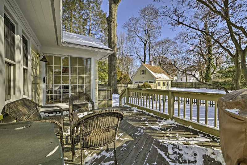 Look forward to sunny days grilling out on the back deck with views of the yard.
