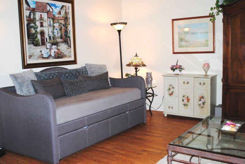 Dag bed in de woonkamer met een comfortabele memory foam matras