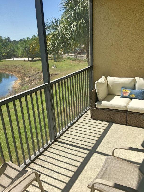 furnished balcony overlooking the lake