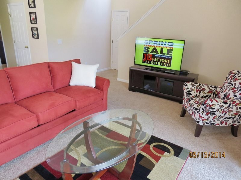 Living room has a huge flat screen and a sofabed