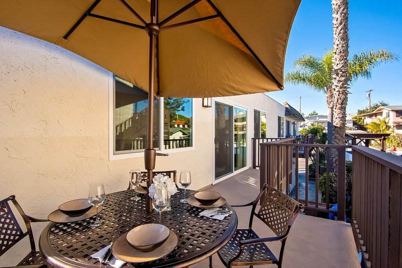 Savor a romantic dinner, or a bright sunny breakfast, in this outdoor dining space.