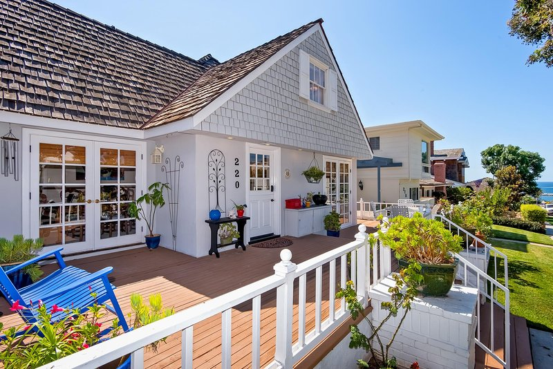 You'll love the spacious front deck and partial ocean view at this Southern California vacation rental