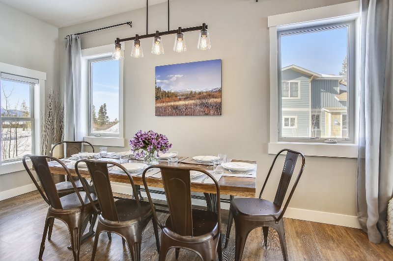 Custom dining area with seating for eight.