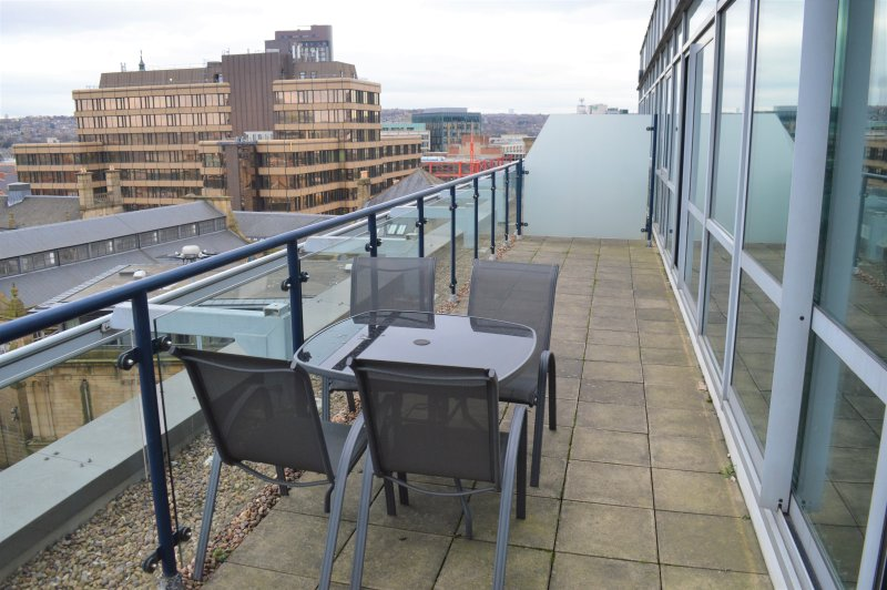 Balcony seating overlooking Sheffield