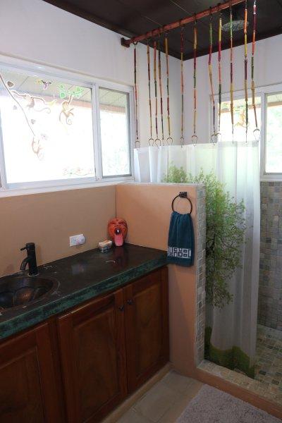 Gran cuarto de baño con ducha abierta y almacenamiento además armario.