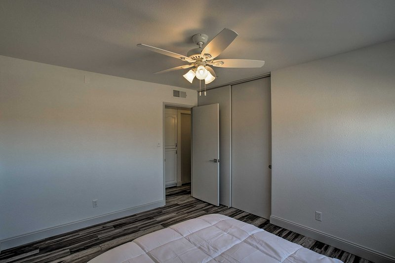 Located just steps from the main living area, this room is close to the action.