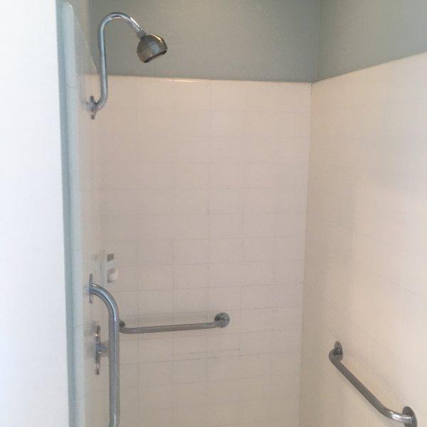 Master bath shower has hand rails if needed