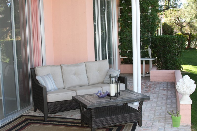 Back deck & patio with new Sunbrella furniture, enjoy sunsets over the mountains