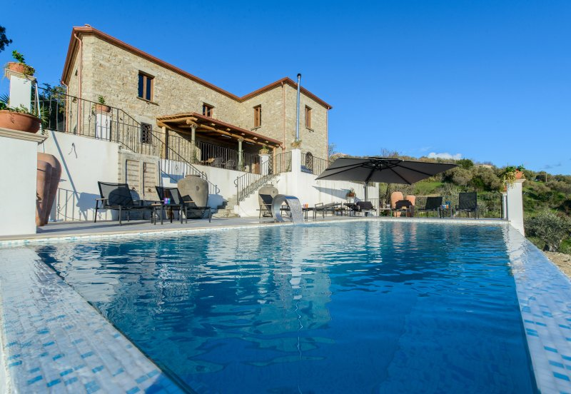 150m2 of sun terraces, luxury sun loungers and of course the heated pool