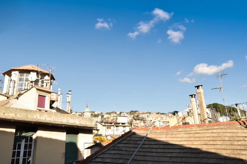 The view of the rooftops of Genoa
