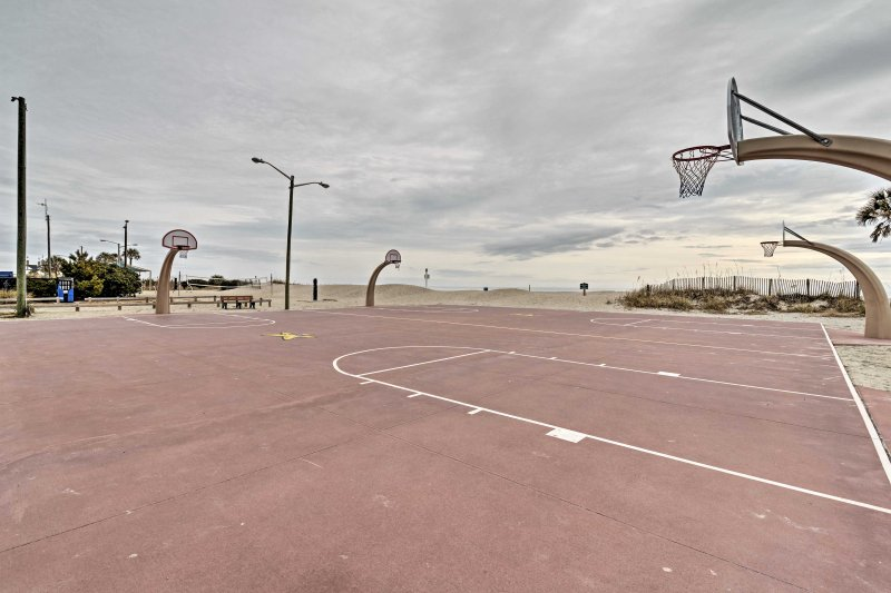Shoot some hoops on the community court.