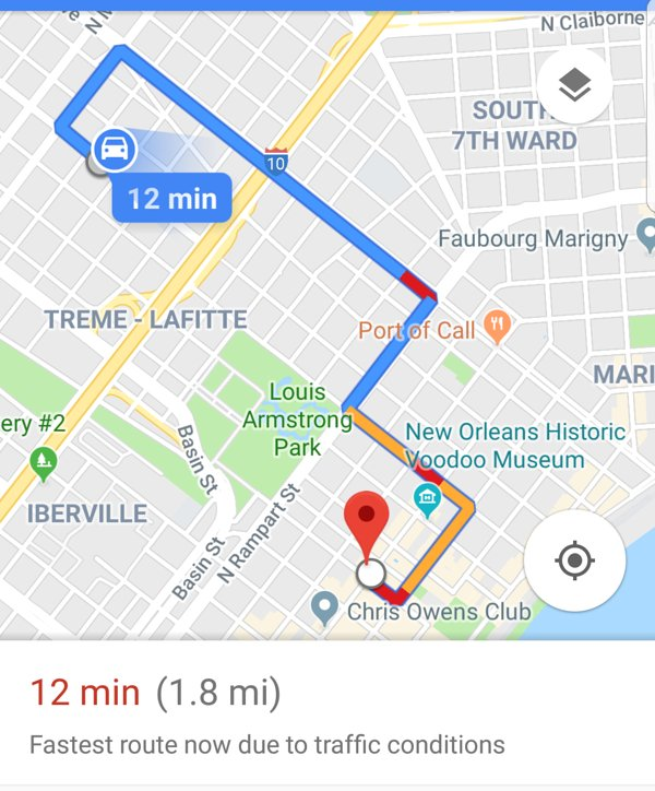 This Google map which shows the house drive distance to the center of Bourbon Street